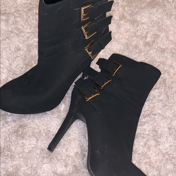 Madeline Shoes - Black Madeline Girl booties with gold buckle